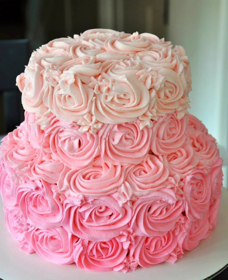 Cake Decorations Pink Roses : Ombre Rose cake Baby girl Lilypad Pinterest The o ...