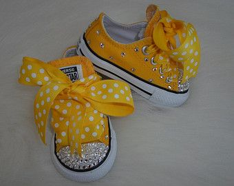 Bee-YOU-tiful  baby infant toddler Converse Chuck Taylors Swarovski Crystals Bling shoes ALLSTAR rhinestones Pageants PHOTO Prop girl yellow