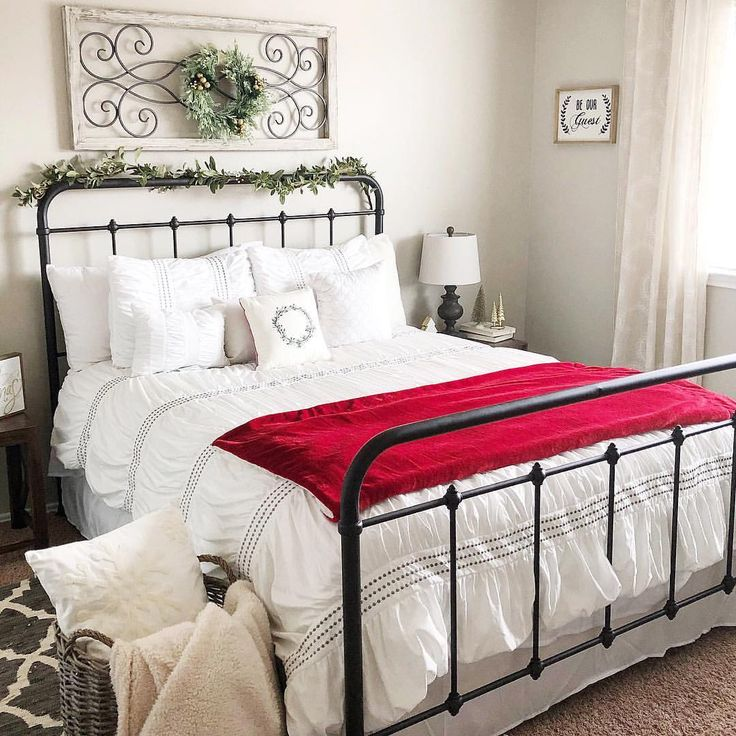 Bedroom Inspiration. Rod iron bed frame.
