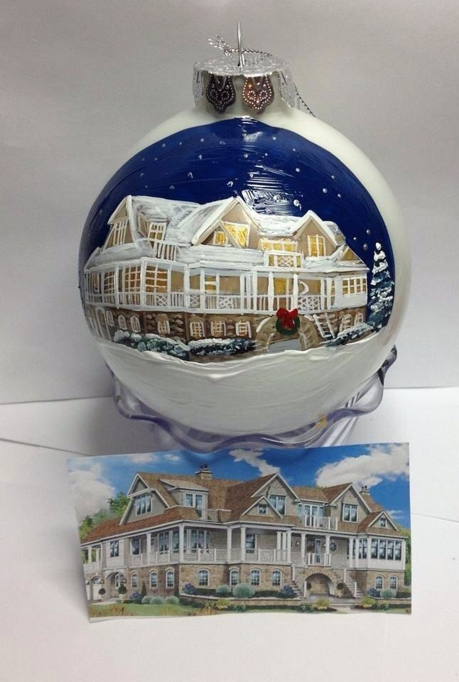 4 Custom Painted House Ornament bulb by HANDPAINTEDBYCYNDIE