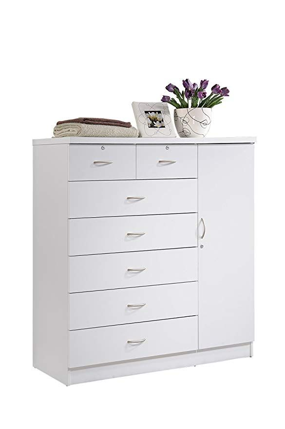 Hodedah Hi71dr White 7 Chest With Locks On 2 Top Drawers Plus 1