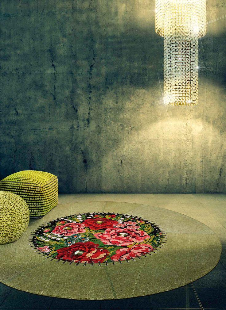 carpet round cm. 208 canapa wool flower floral kilim turkish prices yacht furniture store design manufacturer online shop shipment