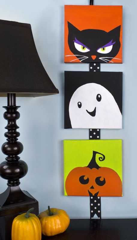 Cute little Halloween canvases. Halloween decor