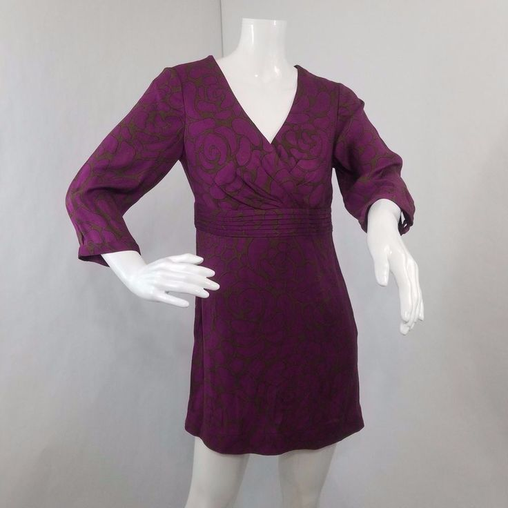 Boden Size 2 Top Womens Purple Gray Canterbury Tunic 3/4 Sleeve Mock Wrap Bust #Boden #Tunic #Casual