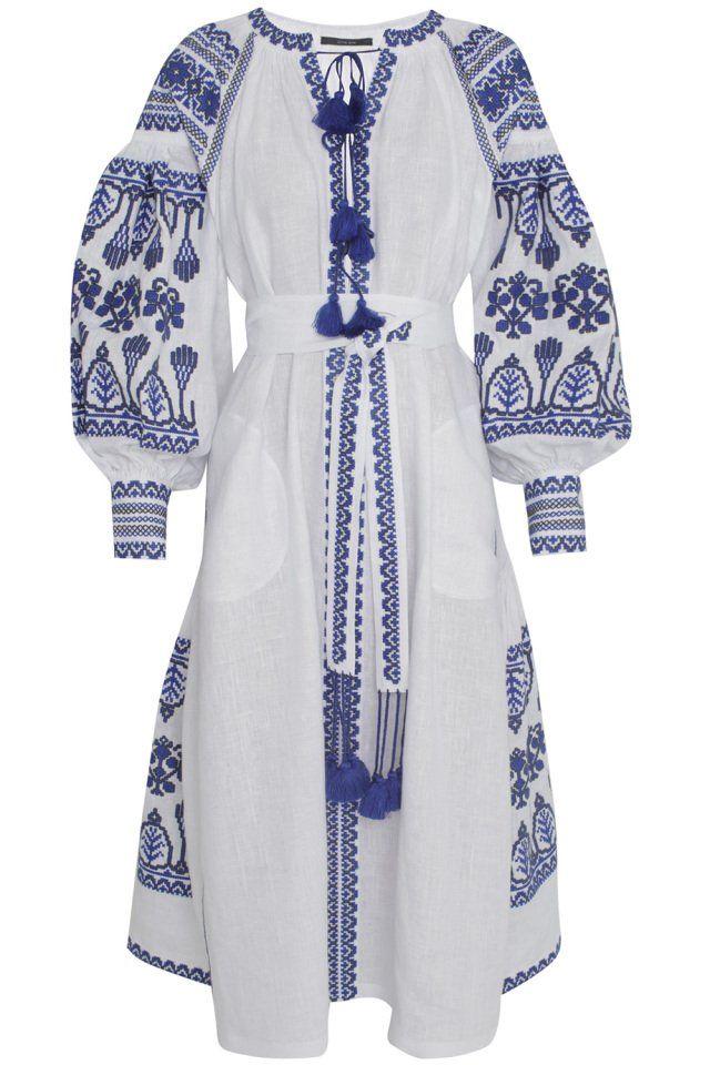 Льняное платье Vita Kin - Льняное платье Vyshyvanka by Vita Kin длины миди сделано украинским дизайнером Витой Кин в интернет-магазине модной дизайнерской и брендовой одежды