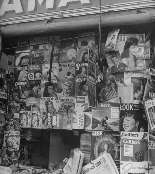 Greek newstand with magazines and newspapers.Location:Athens, Greece  Date taken:1948  Photographer:Dmitri Kessel
