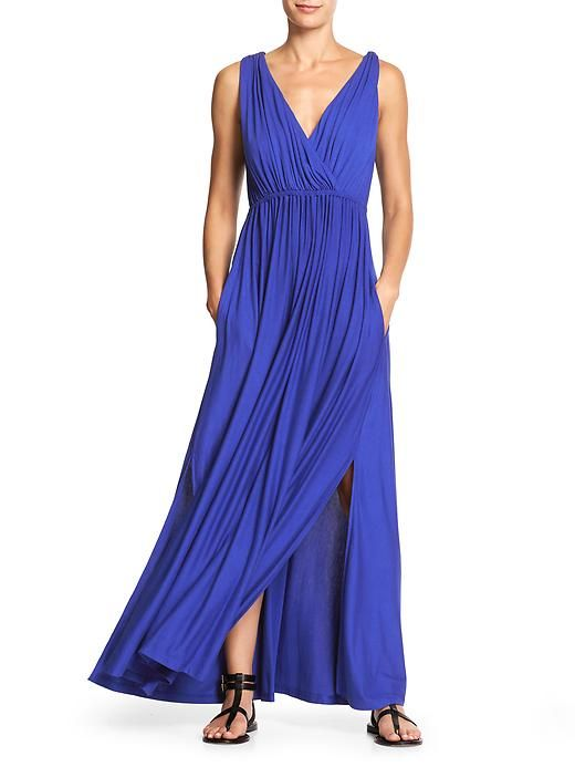 this is my favorite - accents the waist, fabric is heavy so it hangs and flows nice --- Banana Republic outlet goddess blue maxi 2016
