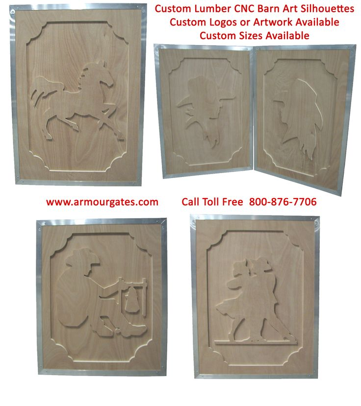 Custom Lumber CNC Barn Art for all areas of your barn, including doors, shutters, signs and even stall front panels. Hundreds of designs available to choose from, such as cowboys, horses, all kinds of ranch and cattle themes available. Custom designs are also available, like your own personal barn logo.