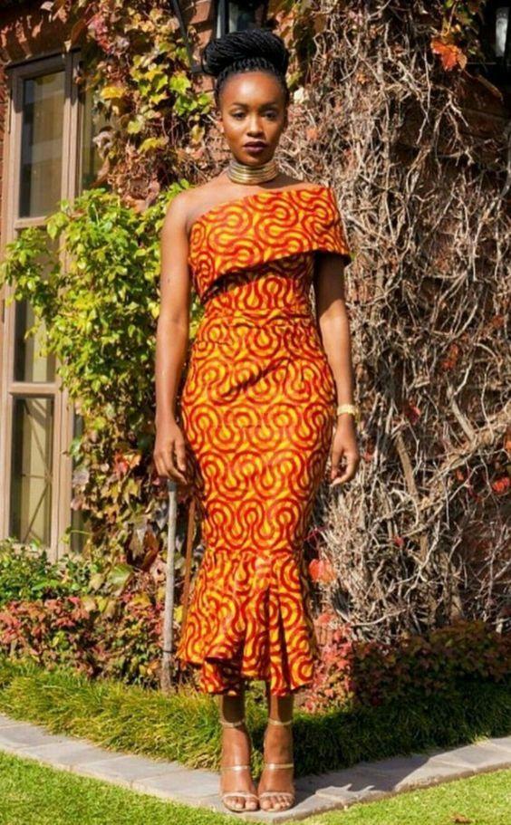African Print One Shoulder Midi Dress Ankara Print Midi Length Pencil Dress