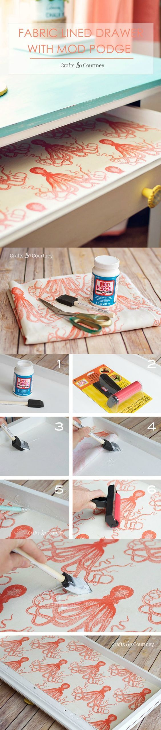 Use Mod Podge and your favorite fabric pattern to create these unique fabric dresser lined drawers. You'll love this DIY! Use the same method with wallpaper - or to line shelves.