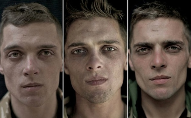 Pictures of soldiers before and after deployment. For all those that write war stories, this is for you. Look at their eyes and how they harden.