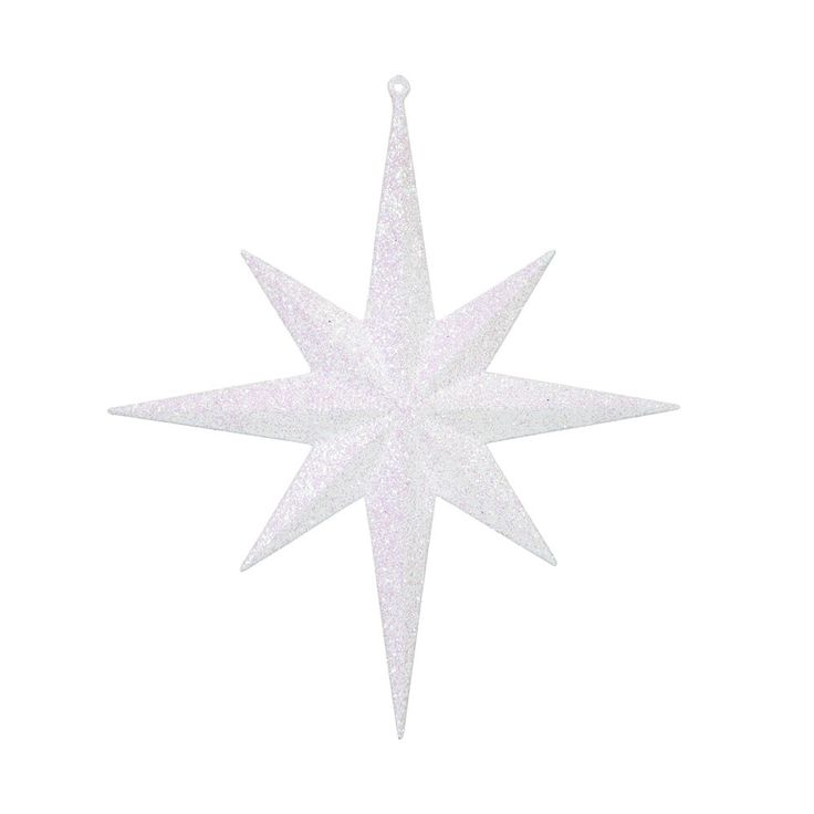 "2PK - 12"" White Glitter Bethlehem Star 8 Point Christmas Ornaments"