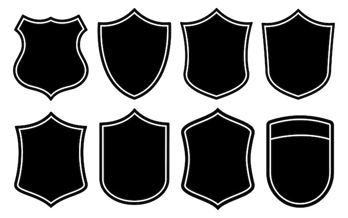 Badge Shape Set Vector Template Banner Shapes Badge Military Graphics