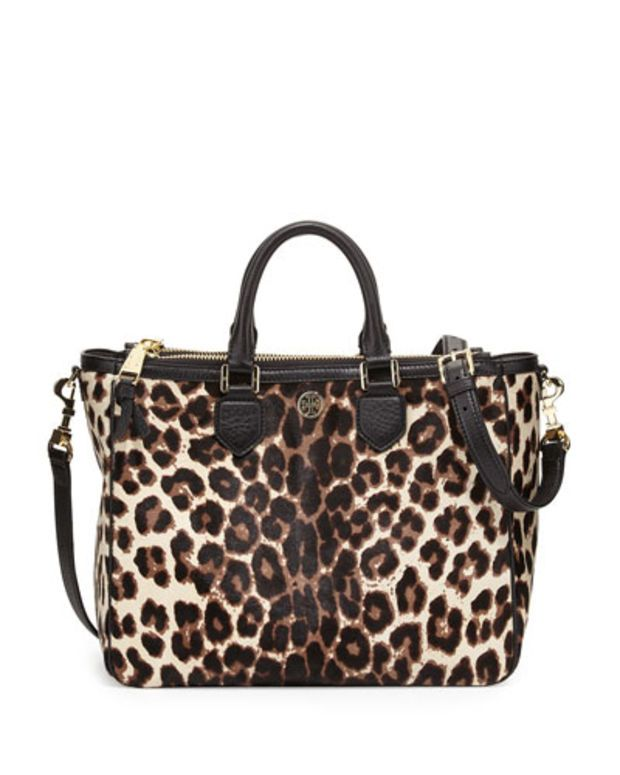 from Tory Burch · Robinson Calf Hair Square Tote Bag, Snow Leopard