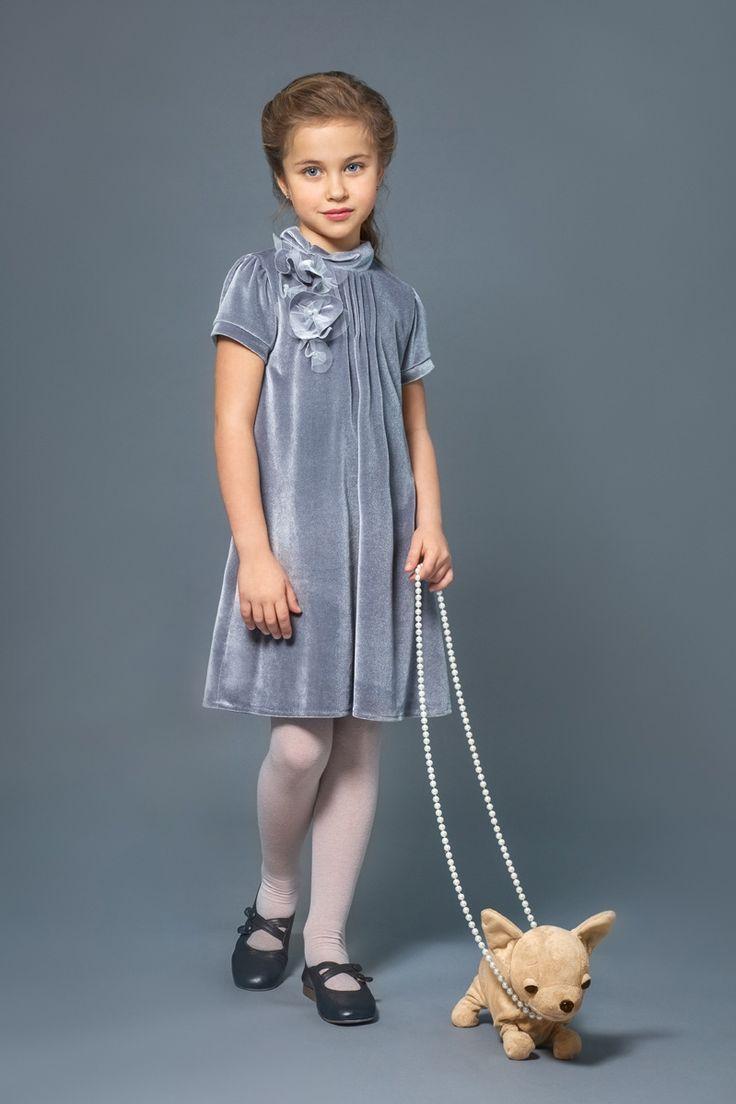 Нарядное платье для девочки из серого бархата купить в Москве, Санкт-Петербурге…