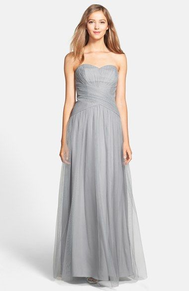 ML Monique Lhuillier Bridesmaids Monique Lhuillier Bridesmaids Back Drape Tulle Gown available at #Nordstrom