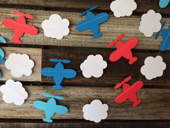 Airplane Party Garland- Baby Shower, Photo Prop, Birthday Party, First Birthday on Etsy, $4.00