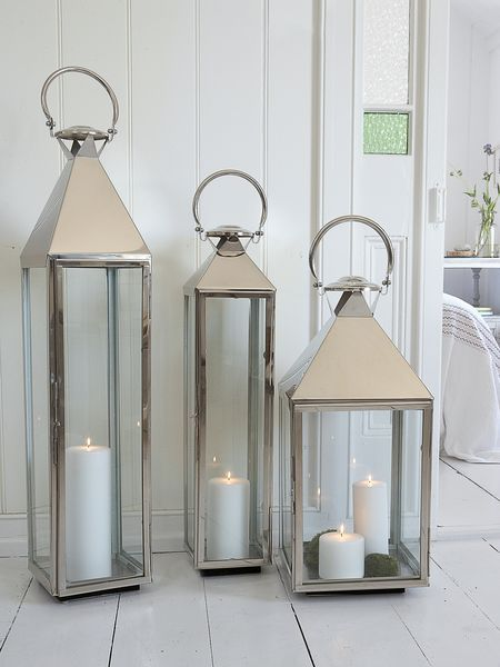 Large stainless steel lanterns - the big boys in our lantern collection! Create a stunning display by grouping several sizes together.