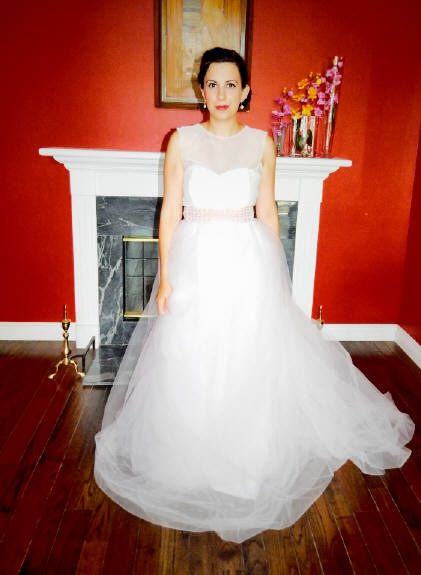 Custom pink netted bodice paired with pink tulle skirt.  Mix & Match pieces by Bridalbymaryrose.ca