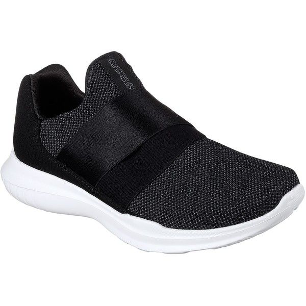 Skechers Women's Skechers Gorun Mojo - Mania Black - Skechers... ($65) ❤ liked on Polyvore featuring shoes, athletic shoes, black, cushioned shoes, skechers footwear, kohl shoes, skechers and black shoes