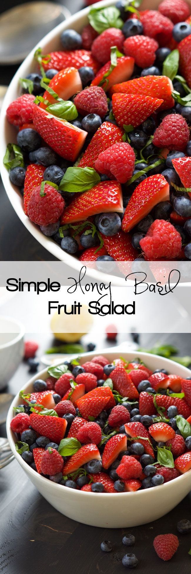 A salad doesn't get any better or fresher than this! Honey Basil Fruit Salad is a mix of fresh fruit and tossed in a 3 ingredient dressing: honey, basil and lemon! #FruitSalad #Fresh #Glutenfree #Fruit