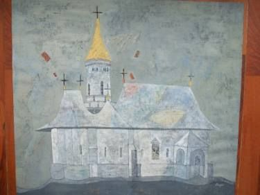 "Saatchi+Art+Artist+SORIN+OTINJAC;+Painting,+""Church""+#art"