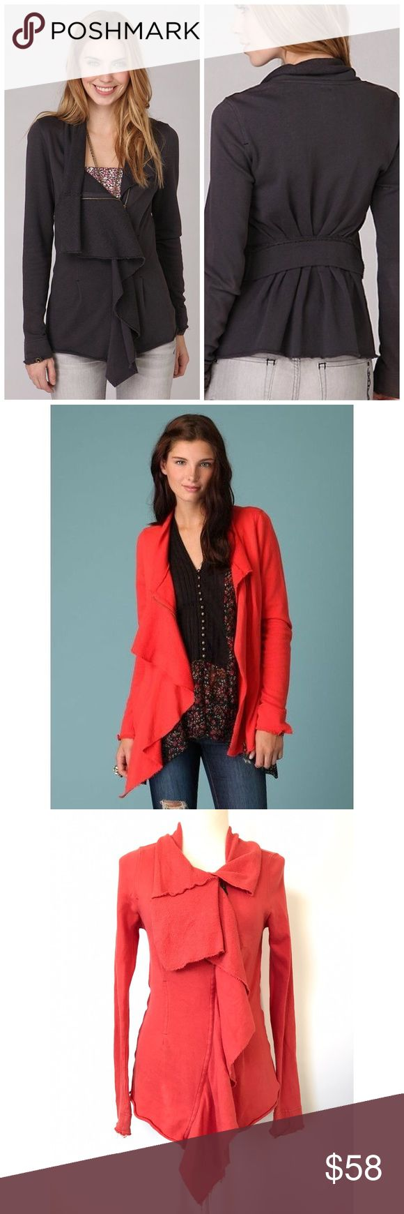 """Free People Pacific Coast Jacket Orange Small L1 Bust: 17.5"""" Length: 32""""-25""""  Raw edges; Ruffled detail on the front with asymmetrical zipper closure; fold over collar and button tabs on the cuffs; band across the back with pleaded bottom  Condition: No Rips; Small stain on the right sleeve (please see pictures for more details)  100% Cotton   📦Orders are shipped within 24hrs! {Except weekends}📦  🚫No Trades🚫No Holds🚫 Free People Jackets & Coats"""
