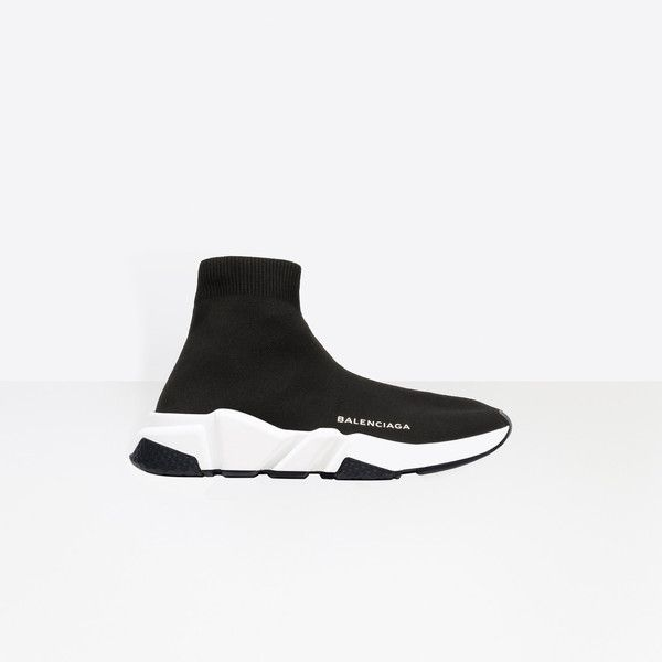 Balenciaga Speed Trainer ($595) ❤ liked on Polyvore featuring shoes, sneakers, black, black trainers, balenciaga shoes, kohl shoes, balenciaga and black sneakers