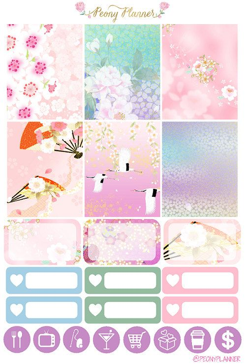 One set of Spring in Japan weekly planner stickers perfect for decorating your planner  Suits Erin Condren vertical life planner but can also be used on any other planner  Printed on non removable matte or glossy paper  Please note that colours may vary on different monitors