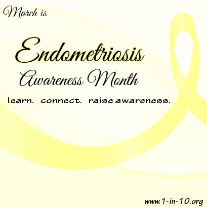 March is #Endometriosis Awareness Month.  If you have #PCOS, you are also at risk for endometriosis. Learn more at www.1-in-10.org.