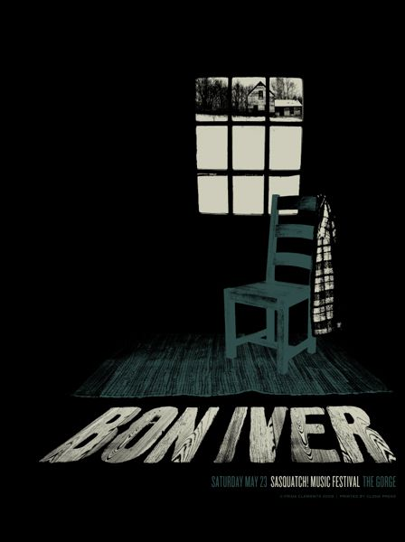 Bon Iver. Poster design: Frida Clements (2009).