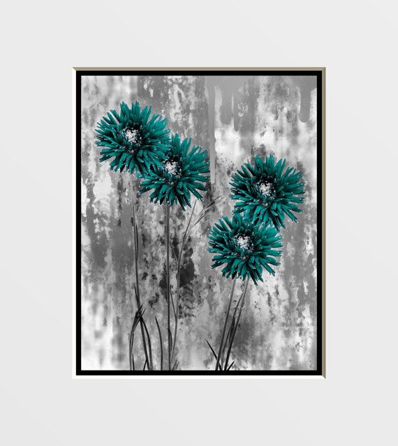 Teal Flower Wall Decor : Contemporary gray teal flowers wall art home decor picture
