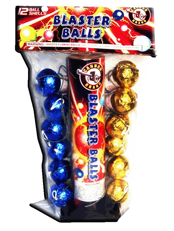 """Blaster Balls - North Central Industries - www.greatgrizzly.com - MUNCIE INDIANA WHOLESALE FIREWORKS •Category: Premium Artillery Shell Kits •Item Number: 909 •Package Contents: 24-12 •Dimensions: 9 x 14 x 5 •Weight: 26lbs Brand Name: Cannon DESCRIPTION: Blue & Gold foil 1.5"""" shells"""