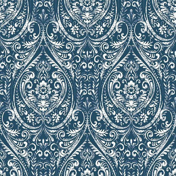 NU1689 - Bohemian Damask Indigo Peel and Stick Wallpaper - by NuWallpaper
