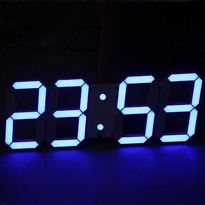 Large Modern Digital Led Skeleton Wall Clock Timer 24/12 Hour Display 3D Blue
