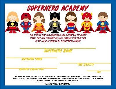 K 11 Fitness Academy Superhero Academy Certificate Superhero Academy Elegant