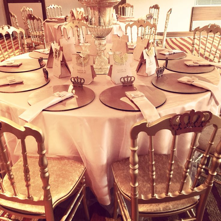 Babyshower table design pink and gold princess theme