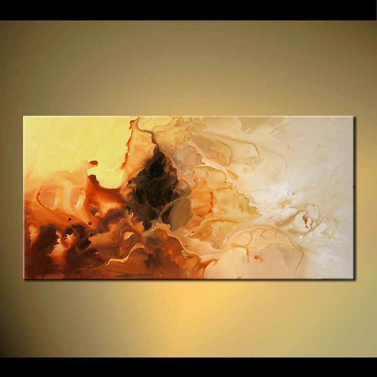 Contemporary Modern Abstract Rust Yellow Cream by OsnatFineArt