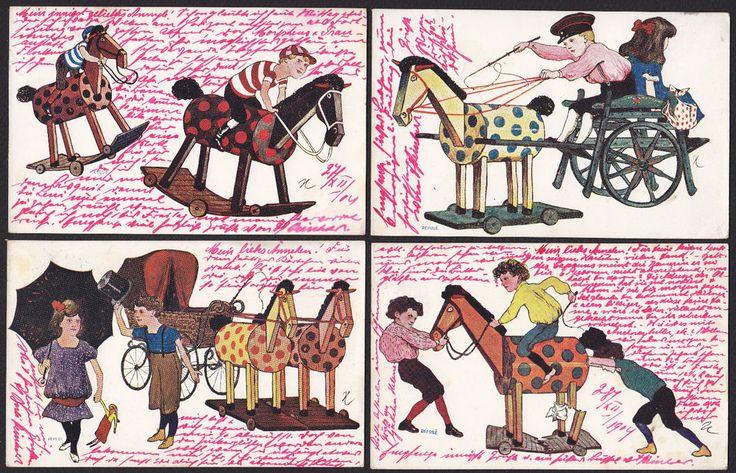 4-Artist-Children-Hobby Horse-Series-B.K.W.I. 855-Antique Postcard Lot