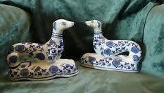 blue and white china greyhounds