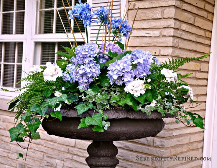 Serendipity Refined: Blue And White Outdoor Summer Urn Patio Planters