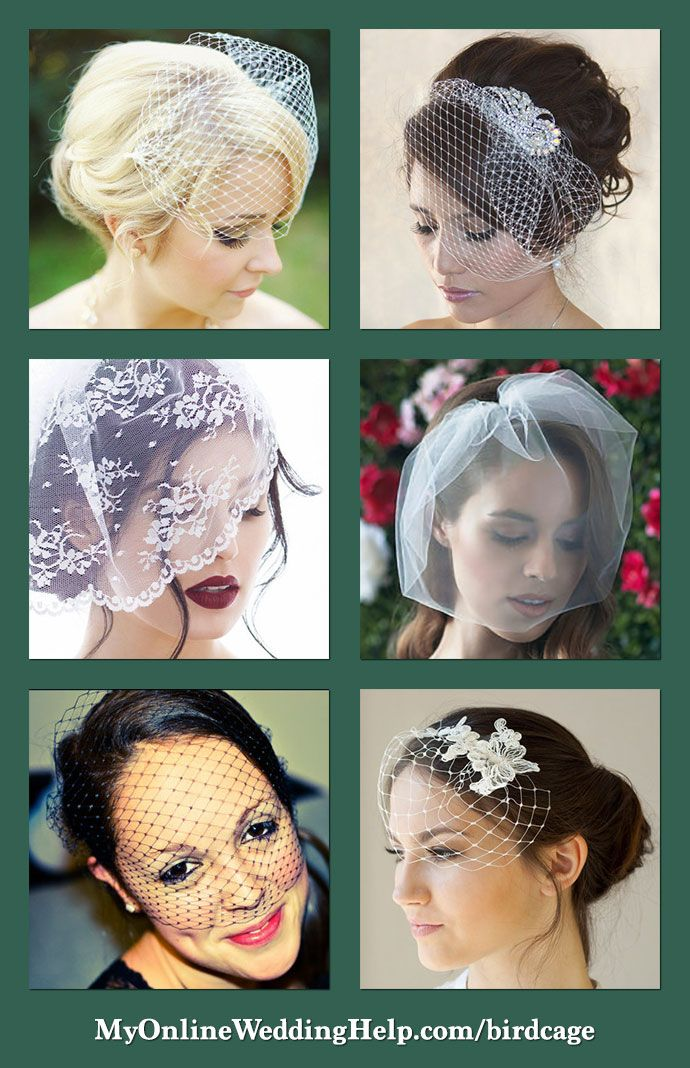 Six different types of birdcage veils. They can be short enough to cover barely an eye or long enough for the whole face. Birdcage veil material is usually a course netting, but can also be lace or tulle. They can also be plain or decorated with crystals, pearls, or other fancy combs. There are links on the page to buy each.