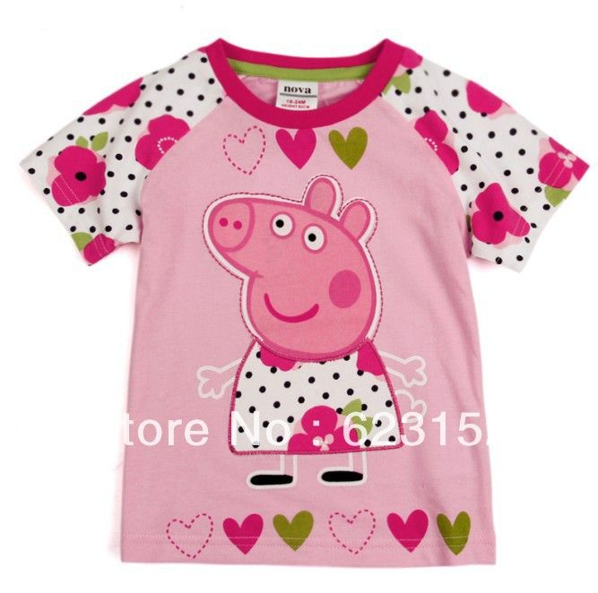 Aliexpress.com : Buy FREE SHIPPING K4045# Kids wear clothing 2013 fashion hot cotton short sleeve t shirts with printing peppa pig from Reliable COTTON peppa pig t-shirts
