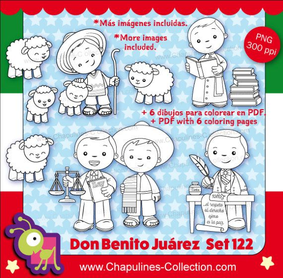 60% off Benito Juárez Clipart, black and white, Mexico, President, history of Mexico Set 122