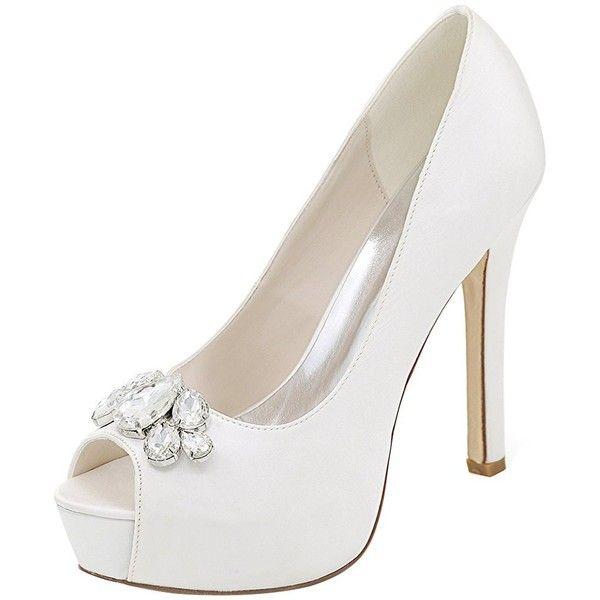 LOSLANDIFEN Women's Peep Toe Sexy Stiletto High Heels Wedding Pumps... (€49) ❤ liked on Polyvore featuring shoes, pumps, peep-toe pumps, stilettos shoes, wide pumps, peep-toe shoes and sexy stilettos