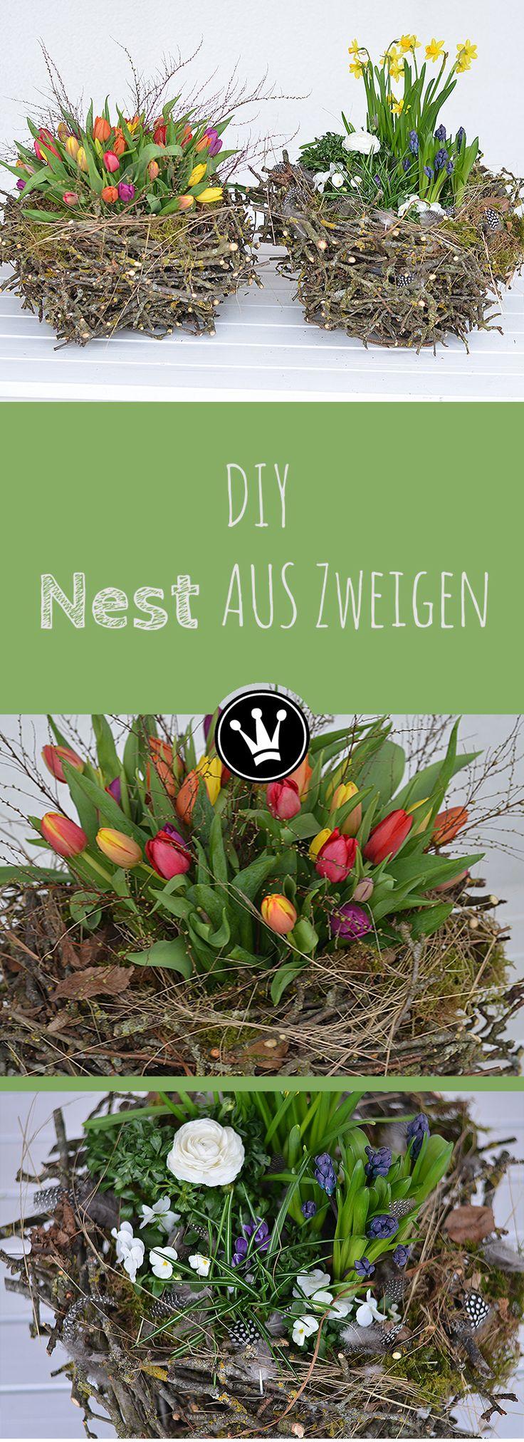 DIY - Dieses Nest aus Zweigen ist eine tolle Dekoidee für den Frühling. Gerade jetzt im Frühjahr fallen viele Zweige beim Baum- und Strauchschnitt an, und aus diesen habe ich dieses Nest im XXL Format selber gemacht. Anleitung dazu bei DekoideenReich auf YouTube