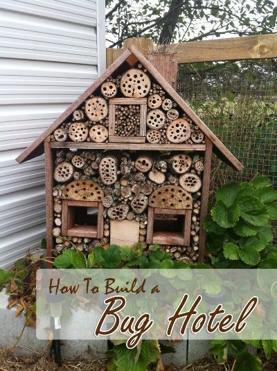 I think I could redo a few things and make this for birds too. The square cutouts would be good places to shield them from wind. This homemade bug hotel is not only a wonderful winter habitat for beneficial insects, including bees and ladybugs, it also doubles up as a beautiful piece