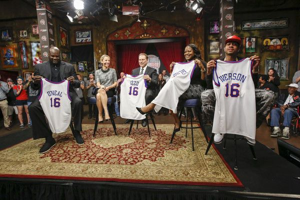 Allen Iverson Photos Photos - (L-R) 2016 Basketball Hall of Fame inductees Shaquille O'Neal, Tom Izzo, Sheryl Swoopes and Allen Iverson are interviewed during the Naismith Memorial Basketball Hall of Fame 2016 Class Announcement at a filming of Sports Center at House of Blues on April 4, 2016 in Houston, Texas. - Naismith Memorial Basketball Hall of Fame 2016 Class Announcement
