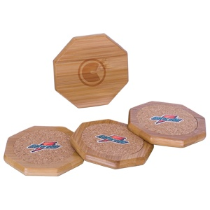 CO7019 - BAMBOO AND CORK COASTER SET - Debco Your Solutions Provider  To order or for more information or pricing please contact info@roadgearsports.com