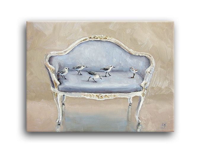 Oil Painting, Beach Sand Baby Piper Bird Ocean, Antique French Settee, Applegate